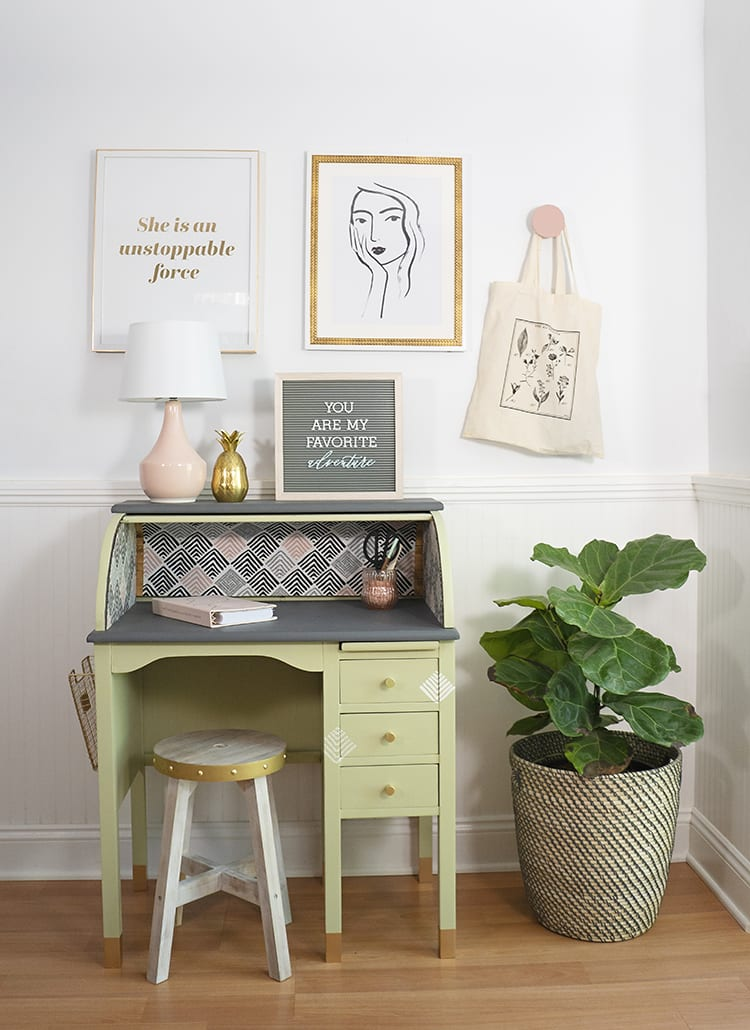 Vintage Roll Top Desk Makeover With The Behr Color Of The Year