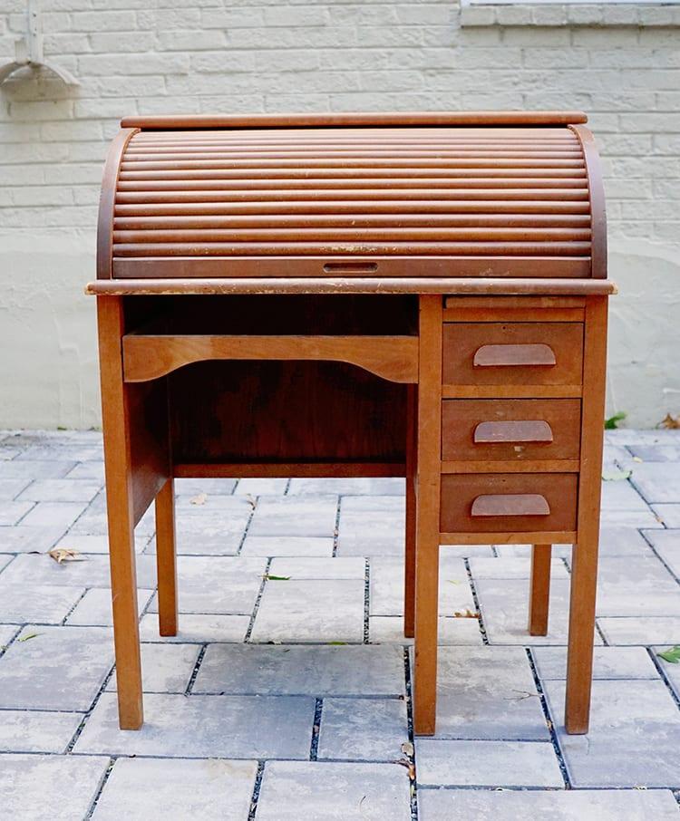 Vintage Roll Top Desk Makeover - Before 2