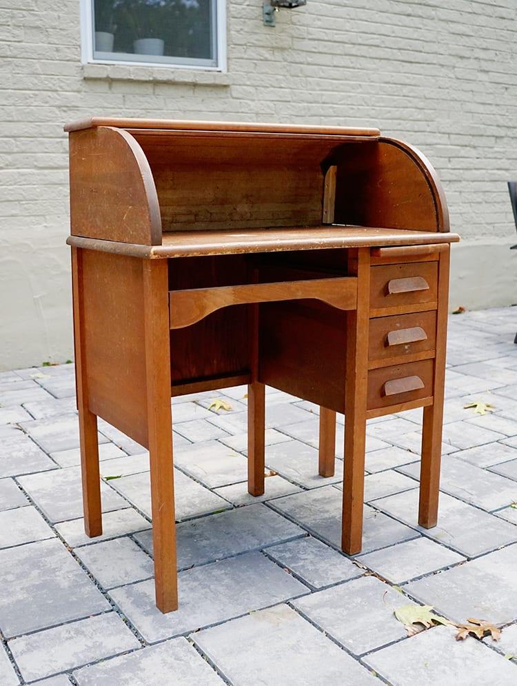 Vintage Roll Top Desk Makeover - Before 3