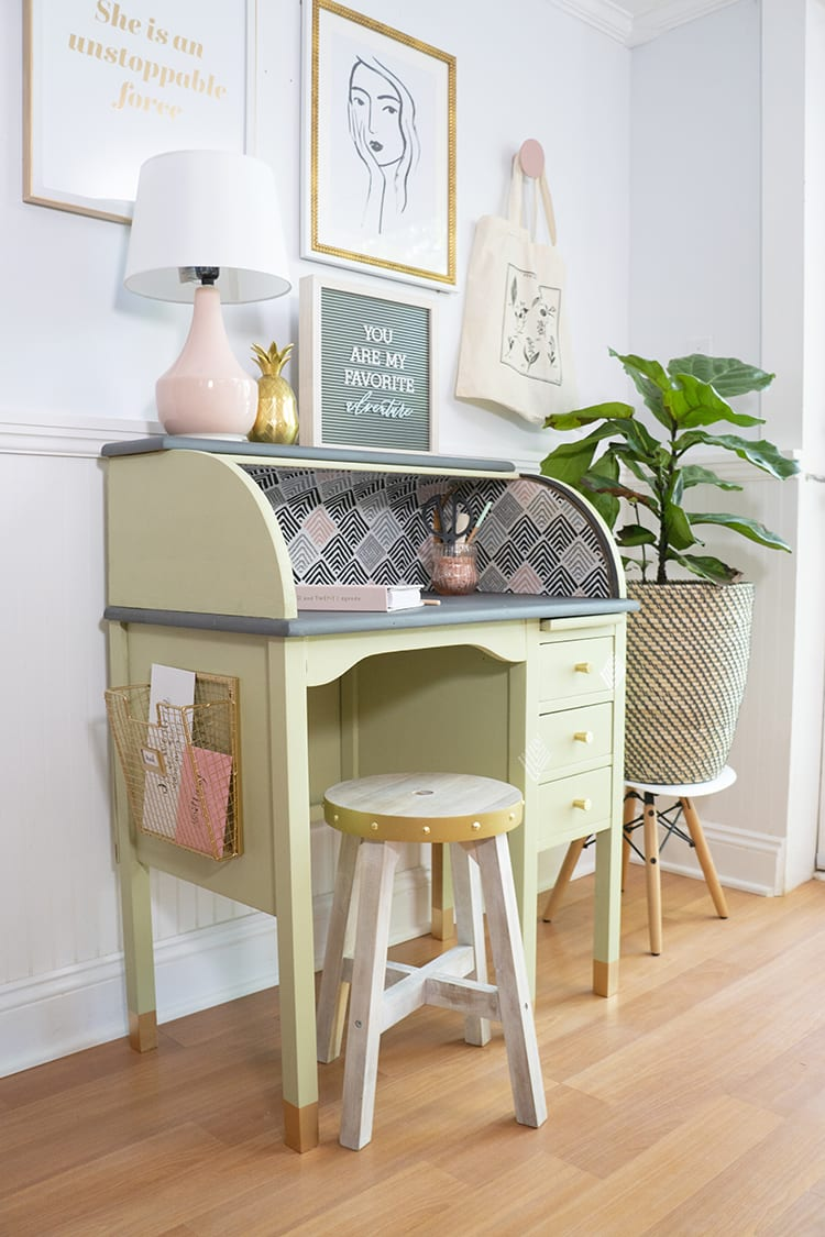 Vintage Roll Top Desk Makeover With the BEHR 2020 Color of the Year Back to Nature Green