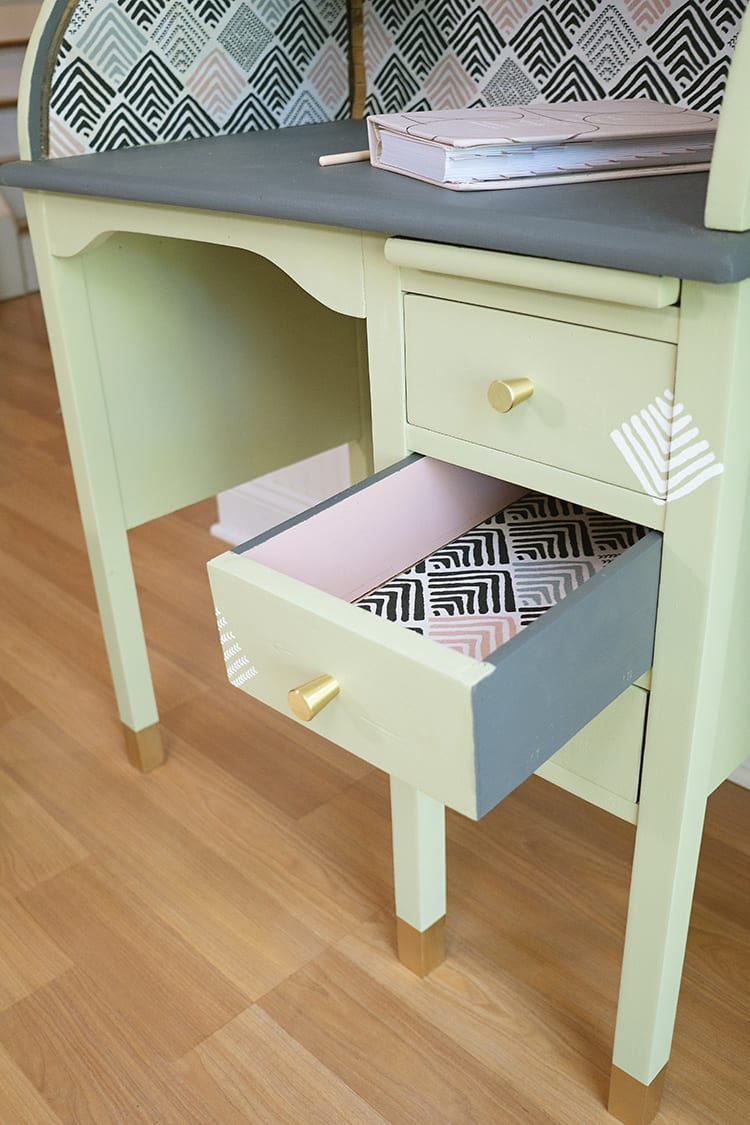 Vintage Roll Top Desk Makeover With the BEHR 2020 Color of the Year and Fabric Drawer Liners