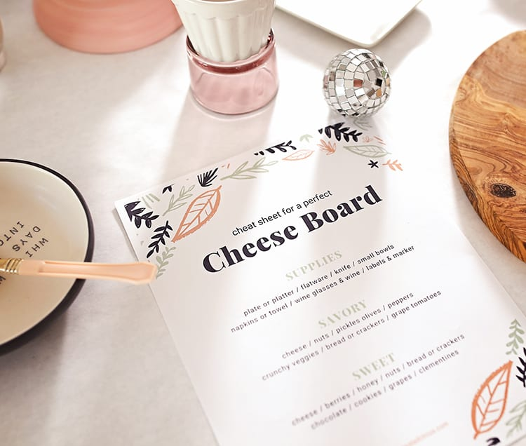 Free Printable Instructions for How to Make a Simple Cheese Platter for a Party
