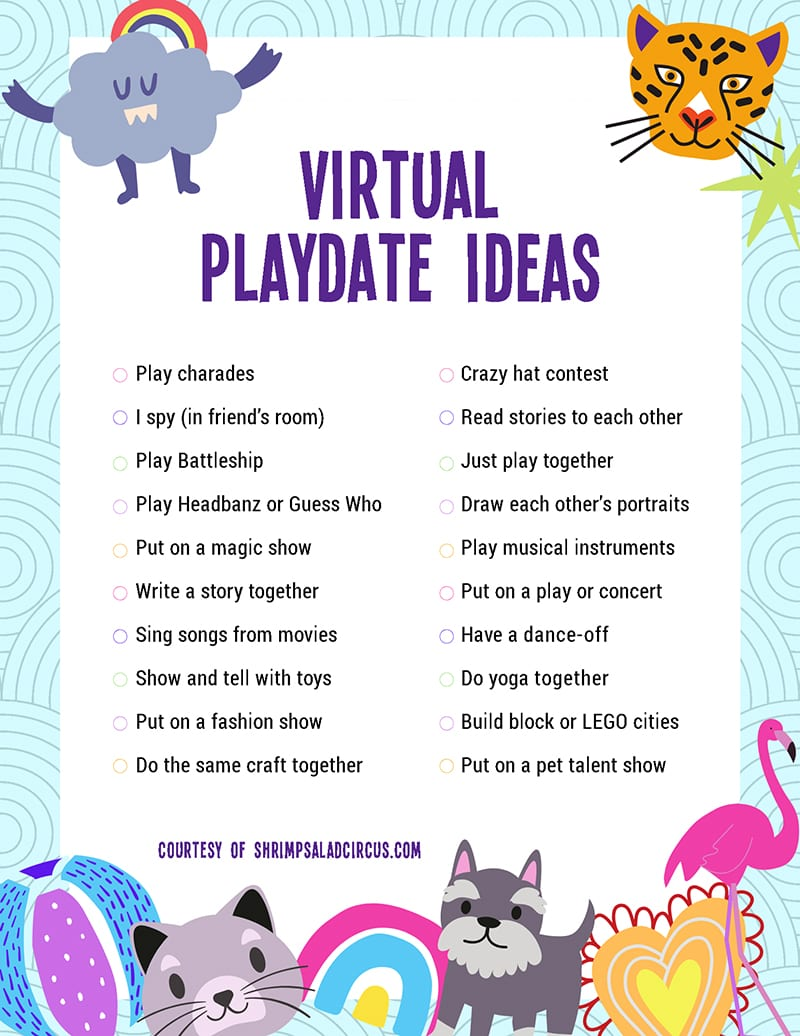 Get this free printable list of virtual indoor playdate ideas for kids. Keep your kids feeling busy and connected with FaceTime, Skype, or WhatsApp play date activites. These ideas are toddler-friendly but are also perfect for elementary school children and tweens and will work for girls and for boys!