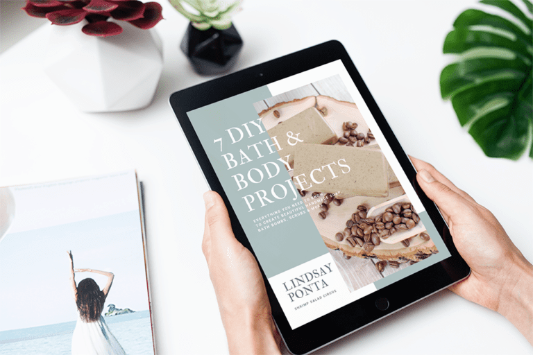 Learn how to make simple DIY bath and body products to sell, to keep, or to gift! This free eBook includes recipes and instructions for bathb bombs, sugar scrub, melt and pour soap, and more -- all to make right at home.