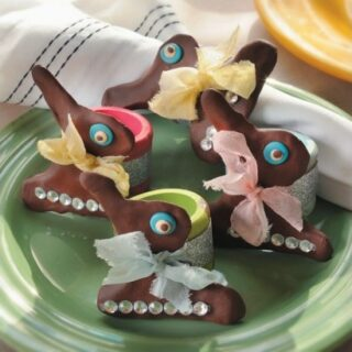 Chocolate bunny Easter napkin rings from clay