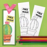 Funny Cactus Coloring Bookmark