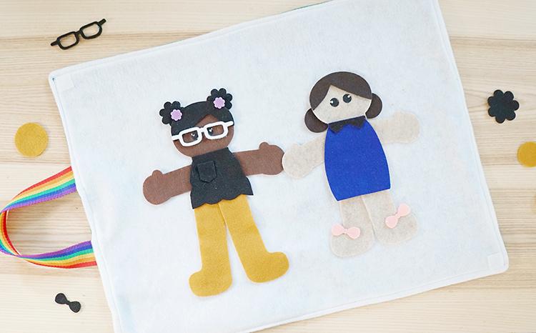 diverse DIY felt figures on a folding felt play mat