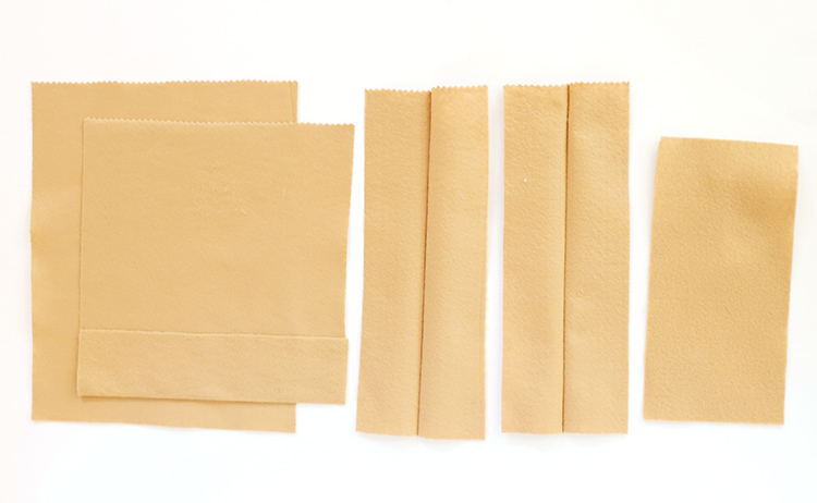 Press and Melt Felt to Create Brown Paper Bag Folds to Make a Play Grocery Sack